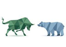 Marché boursier de Taureau et d'ours illustration de vecteur