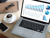 Marché d'augmentation de croissance de diagramme de données commerciales d'analyse de statistiques Photos libres de droits