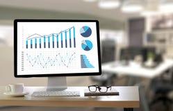 Marché d'augmentation de croissance de diagramme de données commerciales d'analyse de statistiques Images stock