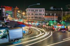 Marché de centre de vue de nuit (kadluang) Image libre de droits