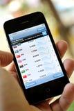 Marché de changes sur l'iphone 4S Photographie stock libre de droits