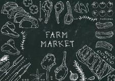 Marché de ferme Coupes de viande - boeuf, porc, agneau, bifteck, culotte sans os, rôti de nervures, échine et Rib Chops Tomate, o Photo libre de droits