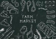Marché de ferme Coupes de viande - boeuf, porc, agneau, bifteck, culotte sans os, rôti de nervures, échine et Rib Chops Tomate, o Images libres de droits