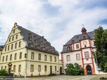 Marché de Florians avec le Burresheimer Hof et l'Altes Kaufhaus - un vieux magasin et salle de danse à Coblence, Allemagne photographie stock