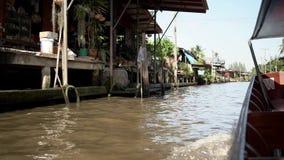 Marché de flottement de la Thaïlande Le marché traditionnel sur l'eau à Bangkok clips vidéos