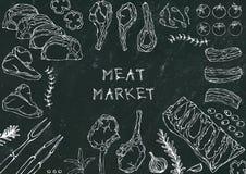 Marché de la viande Coupes de viande - boeuf, porc, agneau, bifteck, culotte sans os, rôti de nervures, échine et Rib Chops Tomat Images libres de droits