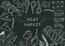 Marché de la viande Coupes de viande - boeuf, porc, agneau, bifteck, culotte sans os, rôti de nervures, échine et Rib Chops Tomat Image libre de droits