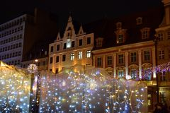 Marché de Noël à Wroclaw photos libres de droits