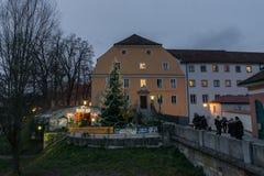 Marché de Noël au jardin de Spital à Ratisbonne, Allemagne Photographie stock