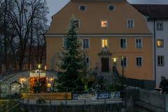 Marché de Noël au jardin de Spital à Ratisbonne, Allemagne Photo stock