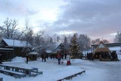 Marché de Noël dans le musée folklorique norvégien, Oslo, Norvège images libres de droits