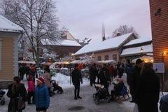 Marché de Noël dans le musée folklorique norvégien, Oslo, Norvège images stock