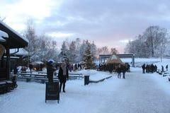 Marché de Noël dans le musée folklorique norvégien, Oslo, Norvège image libre de droits