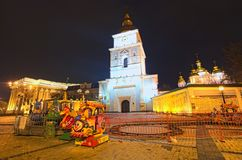 Marché de Noël sur la place du ` s de St Michael dans Kyiv, Ukraine Secteur pour le divertissement du ` s d'enfants image libre de droits
