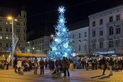 Marché de Noël sur la place de liberté à Brno, République Tchèque Photographie stock libre de droits