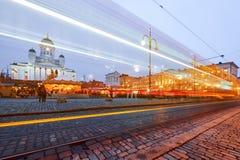 Marché de Noël sur la place de sénat, cathédrale de Helsinki photos libres de droits