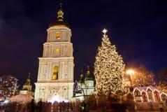 Marché de Noël sur Sophia Square dans Kyiv, Ukraine image libre de droits