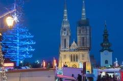 Marché de Noël, Zagreb, Croatie images libres de droits