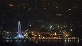 Marché de nuit de façade d'une rivière d'Asiatique à Bangkok clips vidéos