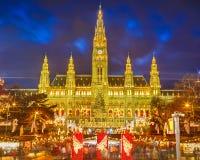 Marché de Rathaus et de Noël à Vienne photo stock