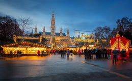 Marché de Rathaus et de Noël à Vienne photographie stock