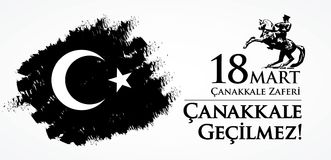 Marché du zaferi 18 de Canakkale Traduction : Vacances nationales turques de jour du 18 mars 1915 la victoire de Canakkale de tab Photos stock