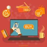 Marché en ligne d'Internet de concept d'acheter maintenant d'achats de commerce électronique Photo stock