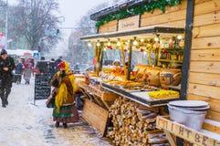 Marché en plein air d'hiver Photos libres de droits
