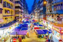 Marché en plein air de fa Yuen la nuit image libre de droits