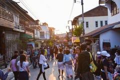 Marché en plein air de marche Chiang Khan Loei Thailand Images libres de droits