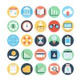 Marché et icônes 2 de vecteur colorées par sciences économiques Photos libres de droits
