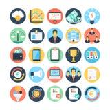 Marché et icônes 3 de vecteur colorées par sciences économiques Image libre de droits