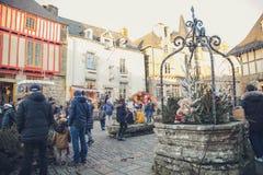 Marché féerique de Noël de queue à la place photographie stock libre de droits