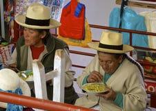 Marché indigène d'heure du déjeuner, Pérou Photo stock