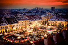 Marché la Transylvanie Roumanie de Noël de Sibiu Images stock