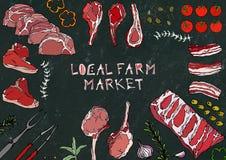 Marché local de ferme Coupes de viande - boeuf, porc, agneau, bifteck, culotte sans os, rôti de nervures, échine et Rib Chops Tom Photos stock