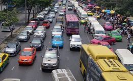 Marché serré par rue passante Bangkok Photos libres de droits