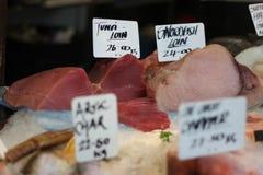 Marché, thon et espadons d'air ouvert de fruits de mer Image libre de droits