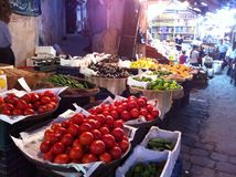 Marché végétal de nuit à Damas Images stock