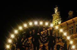 Marché Zwickau de Noël de Schwibbogen la nuit Photo libre de droits