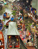 Marchés de flottement dans Damnoen Saduak, Thaïlande Photo stock