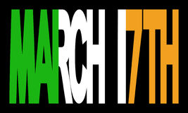 March 17th with Irish flag. Overlapping March 17th text with Irish flag illustration stock illustration