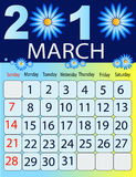 March 2010. Vector illustration of colored Calendar, 2010 Stock Photos
