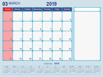 Free March 2019 Calendar Monthly Planner Design Royalty Free Stock Images - 135443539