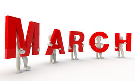 March. 3D humans forming red word March made from 3d rendered letters isolated on white vector illustration