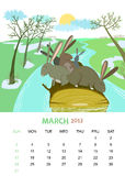 March. Vector calendar 2013. March. Animals design Stock Images