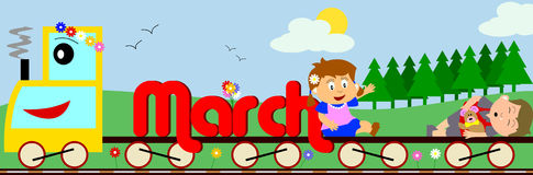 March. Illustration showing March written on a train surrounded by a funny and colouful spring landscape. You can find all the months in my portfolio Royalty Free Stock Photography