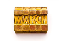March. The Month March done in letterpress type. Part of a calendar series royalty free stock photo