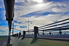 March across the Eastside pathway of the Humber Bridge, Hull, Humberside, Yorkshire. stock image