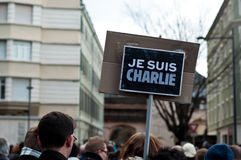 March against Charlie Hebdo magazine terrorism attack, on January 7th, 2015 in Paris Stock Photos